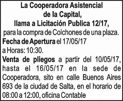 Licitación: Licitación Publica 12/17 - Cooperadora Asistencial de la Capital