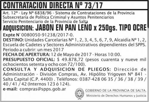 Compra Directa: Contratacion Directa 73/17 SPPS MDHJ