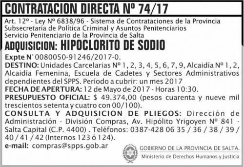 Compra Directa: Contratacion Directa 74/17 SPPS MDHJ