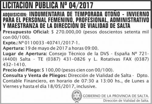 Licitación: Licitacion Publica 04/2017 DVS