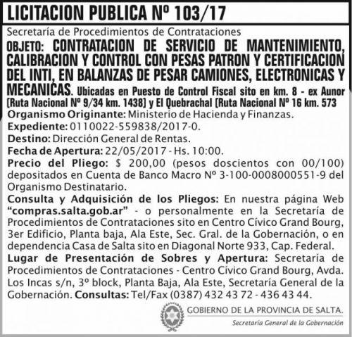 Licitación: Licitacion Publica 103/17 SGG MHF