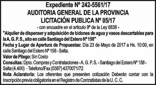 Licitación: LICITACIÓN PÚBLICA 05/17 - AUDITORIA GENERAL DE LA PROVINCIA