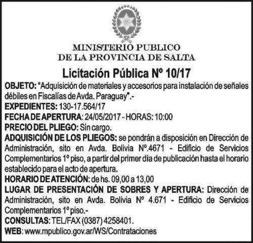 Licitación: LICITACION PUBLICA  Nº 10/2017 Ministerio Público