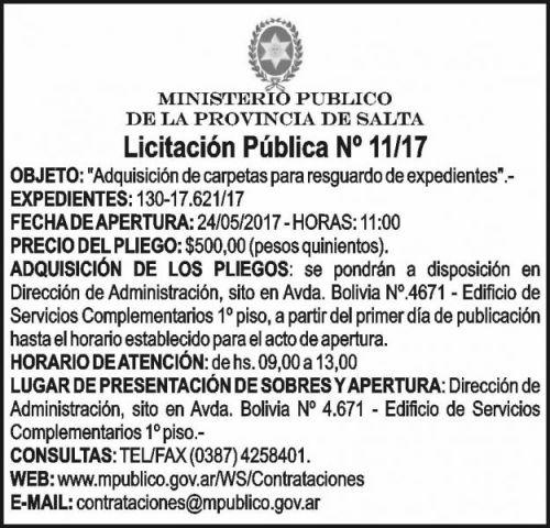 Licitación: LICITACION PUBLICA  Nº 11/2017 Ministerio Público