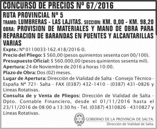 Licitación: CONCURSO DE PRECIOS N° 67/2016