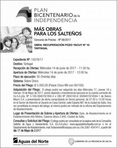 Concurso de Precios: Concurso de Precios 06/2017 - AGUAS DEL NORTE