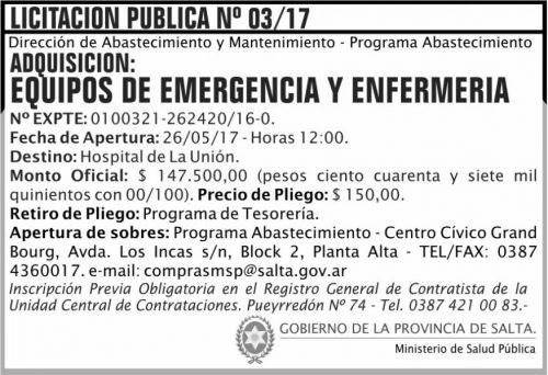 Licitación: Licitacion Publica 03/17 MSP