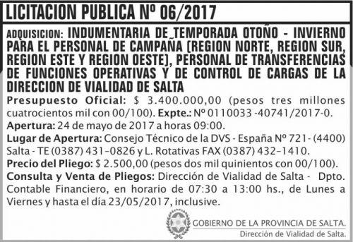 Licitación: Licitacion Publica 06/2017 DVS