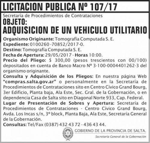 Licitación: Licitacion Publica 107 SGG TC