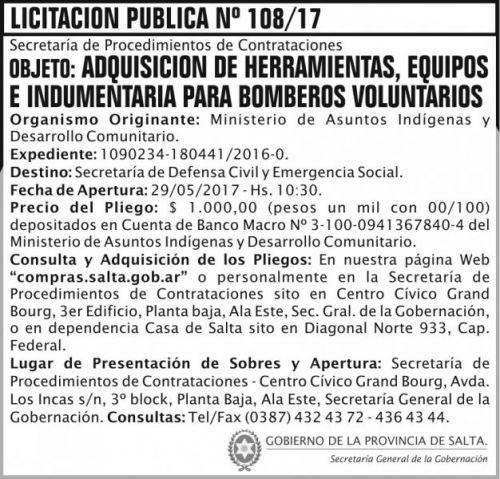 Licitación: Licitacion Publica 108/17 SGG MAIDC
