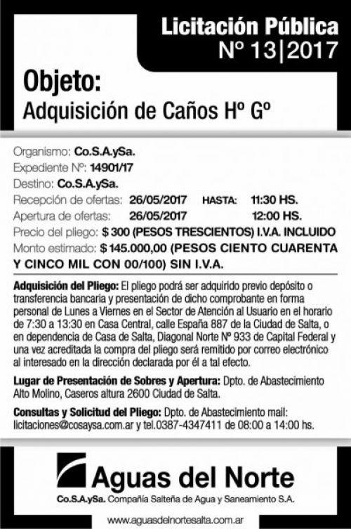 Licitación: LICITACIÓN PÚBLICA 13/2017 AGUAS DEL NORTE