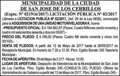 Licitación: Licitacion Publica 02/17 MUNICIPALIDAD SAN JOSÉ DE LOS CERRILLOS