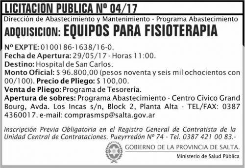 Licitación: Licitacion Publica 04/17 MSP