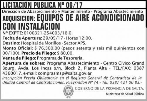 Licitación: Licitacion Publica 06/17 MSP