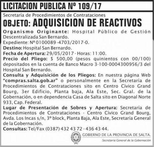 Licitación: Licitacion Publica 109/17 SGG SB