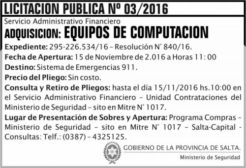 Licitación: Licitación Pública Nº 03/2016