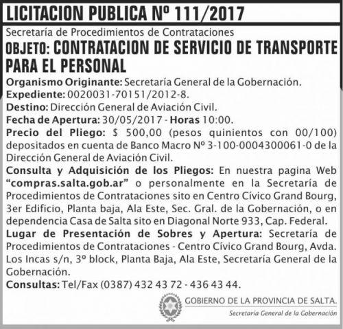 Licitación: Licitacion Publica 111/2017 SGG SGG