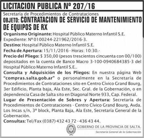 Licitación: Licitación Pública Nº 207/16