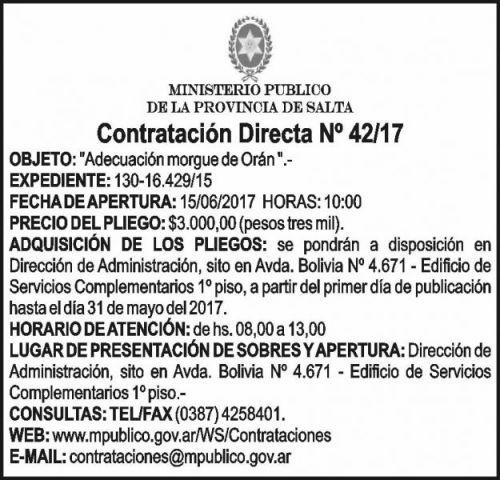 Compra Directa: CONTRATACION DIRECTA Nº 42-17 - MINISTERIO PÚBLICO SALTA