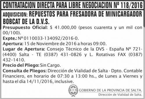Concurso de Precios: Contratación Directa Para Libre Negociación Nº 118/2016