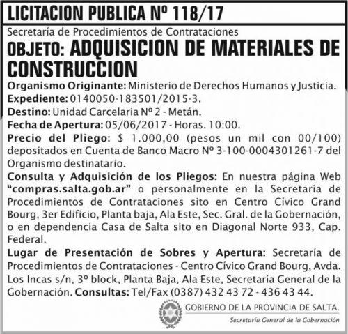 Licitación: Licitacion Publica 118 SGG MDHJ