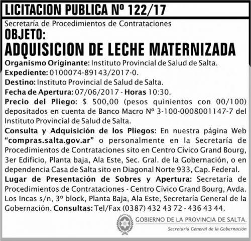 Licitación: Licitacion Publica 122 SGG IPS