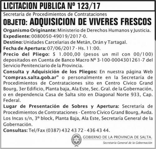 Licitación: Licitacion Publica 123 SGG MDHJ