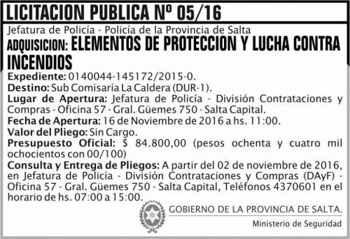 Licitación: Licitación Pública Nº 05/16