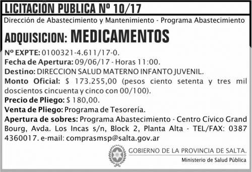 Licitación: Licitacion Publica 10/17 MSP