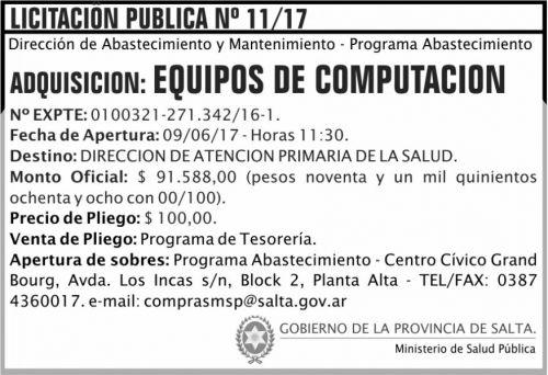 Licitación: Licitacion Publica 11/17 MSP