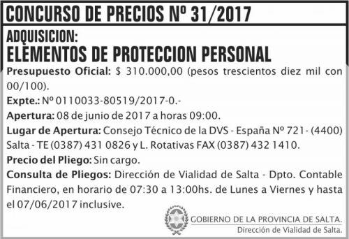 Licitación: Concurso de Precios 31/2017 DVS