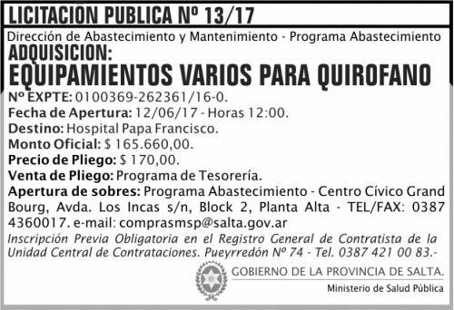 Licitación: Licitacion Publica 13/17 MSP