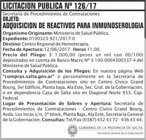 Licitación: Licitacion Publica 126/17 SGG MSP