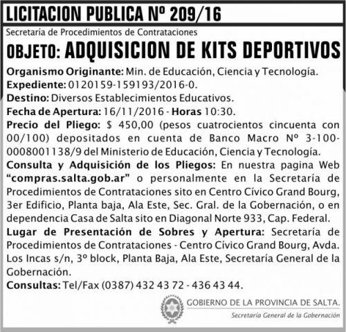 Licitación: Licitación Pública Nº 209/16