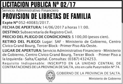 Licitación: Licitacion Publica 02 MG SAF