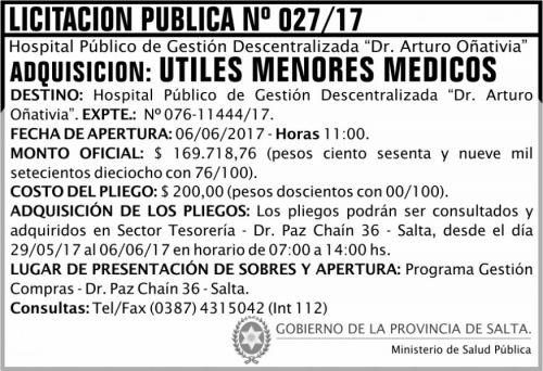 Licitación: Licitación Pública 27 MSP Oñativia