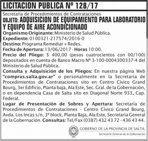 Licitación: Licitacion Publica 128 SGG MSP