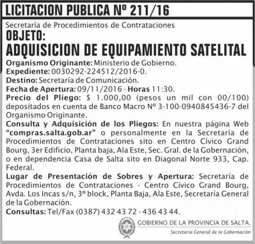Licitación: Licitación Pública Nº 211/16