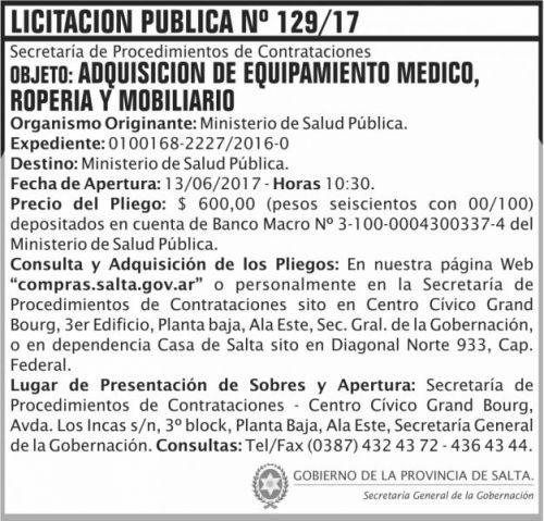 Licitación: Licitacion Publica 129 SGG MSP
