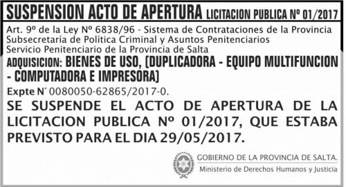 Licitación: SUSPENSION Licitacion Publica 01 SPPS MDHJ