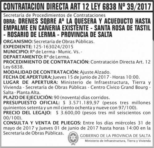 Compra Directa: Contratacion Directa 39 MITV