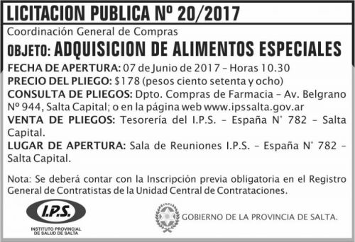 Licitación: Licitacion Publica 20 IPS