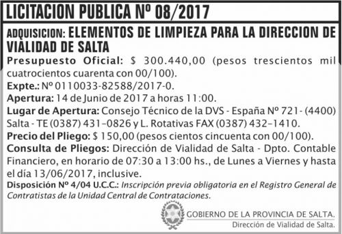 Licitación: Licitacion Publica 08 DVS