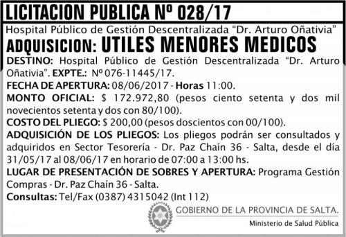 Licitación: Licitación Pública 28 MSP Oñativia