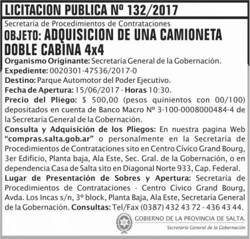 Licitación: Licitacion Publica 132 SGG SGG
