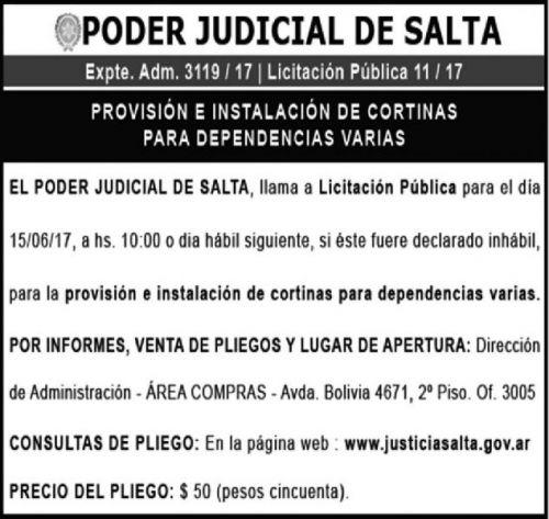 Licitación: LICITACIÓN PÚBLICA 11/17 - PODER JUDICIAL EXPTE ADM 3119/17