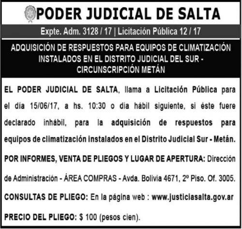 Licitación: LICITACIÓN PÚBLICA 12/17 - PODER JUDICIAL EXPTE ADM 3128/17