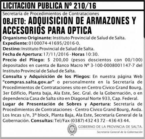 Licitación: Licitación Pública Nº 210/16