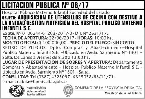 Licitación: Licitacion Publica 08 MSP HPMI