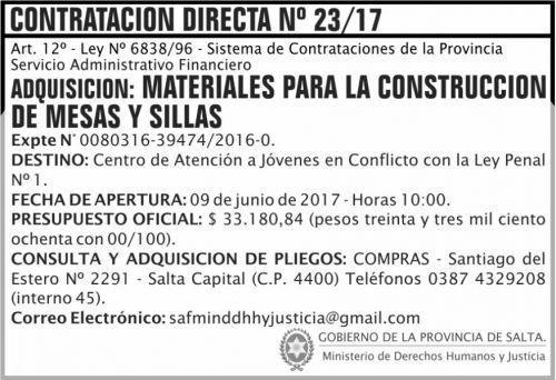 Compra Directa: Contratacion Directa 23 MDHJ